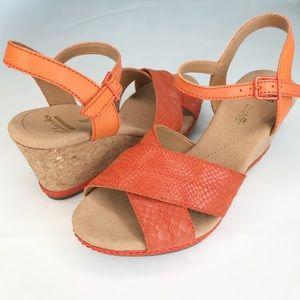 Clark's Helio Latitude Cork Wedge Sandals